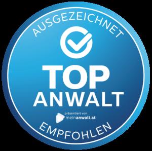 Zertifikat Auszeichnung TOPANWALT meinanwalt.at